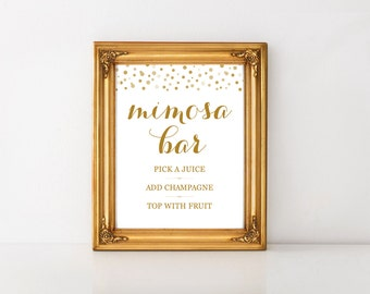 Mimosa Bar Sign, Mimosa Bar Printable, Wedding Sign, Bridal Shower Sign, Champagne Sign, Bachelorette Party Sign, New Year's Eve Sign