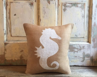 Burlap Pillow - Seahorse Pillow | Seahorse nursery | Ocean, Under the Sea bedding | Seahorse bedding | Mermaid room |Girl's room