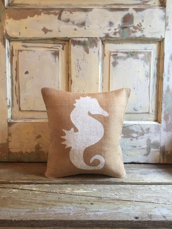 Burlap Pillow - Seahorse Pillow | Beach House Decor | Summer pillow | Summer Decor | Hostess Gift | Housewarming | Seahorse