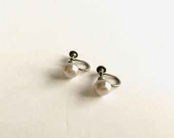Vintage Pearl Twist Back Earrings