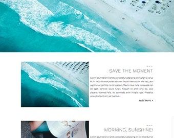 "Blogger Template ""Umea"" / Responsive Photography Grid Full Widht Slider Premade Blog Theme Blogspot Design"