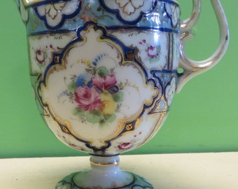 Outstanding 1910's Hand Painted Fine Porcelain Footed Creamer - Free Shipping
