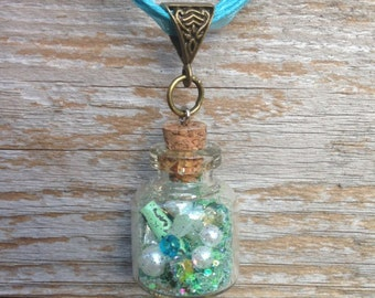 Glass Vial- Message in A Bottle Necklace -Green #2