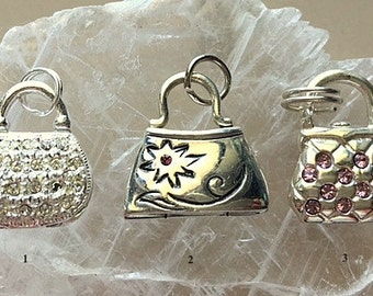 Vintage Sterling Silver Purse Charms - Miniature Silver Purses - Moveable Parts