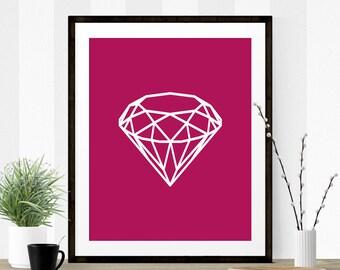 Magenta Diamond, Diamond Print, Diamond Art, Magenta Art, Magenta Print, Diamond Art Print, Diamond Art, Graphic Art, Wall Print, Printable