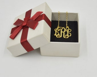 Monogram Necklace Gold-4 different pendant sizes-any initials-Valentines gift