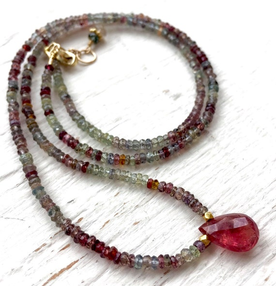 Genuine African Sapphire Necklace,  14K Gold Necklace, African Red Sapphire Pendant, September Birthstone, One of a Kind Gift For Her