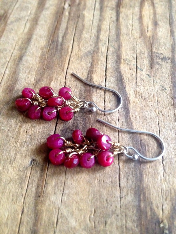 Genuine Ruby Earrings , Ruby Cluster , Mixed Metal , Raspberry , Wire Wrapped Ruby Dangle Earrings , July Birthstone Jewelry