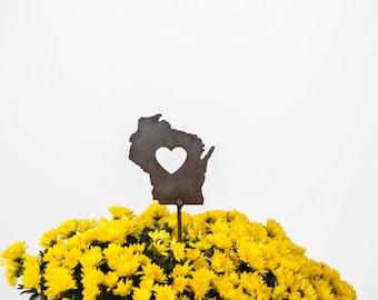 Wisconsin State Heart Garden Art Stake