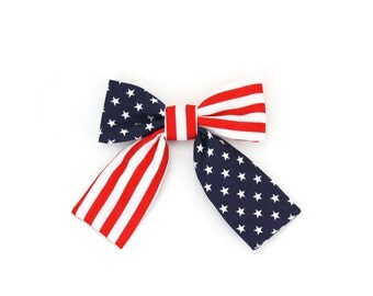 Red White Blue Patriotic Girl Dog Collar Bow Cat Collar Bow American Flag Dog Bow Tie with Tails July 4th Stars and Stripes Girly Dog Bowtie