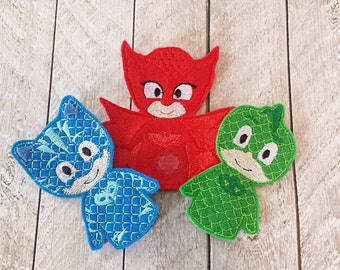Bedtime, Heroes Inspired Finger Puppets, Felt, Travel Toy, Puppet, Pretend Play, Imagination  SET OF THREE Save 25% When bought as a set