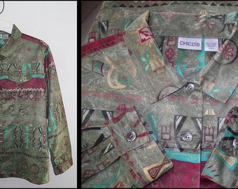 Sueded Southwestern Chicos Button Front Tunic Shirt Jacket size 3 L/XL