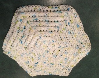 Large Crocheted Hot Pad with Ridges in White, Blue, Green, and Yellow