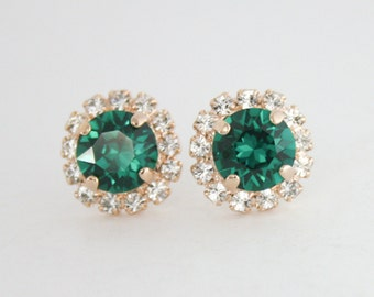 Swarovski earrings,emerald green earrings,crystal earrings,stud earrings,rose gold earrings,emerald earrings,green crystal,emerald wedding