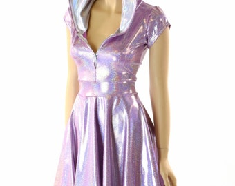 Lilac Purple Holographic Hoodie Skater Dress with Cap Sleeves, Flashbulb Hood Liner & Front Zipper 152256