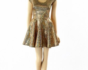 Gold on Black Shattered Glass Holographic Scoop Neck Cap Sleeve Fit and Flare Skater Dress  152265