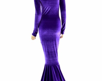 Purple Velvet Gown with Scoop Neckline, Long Sleeves and Puddle Train   -152349