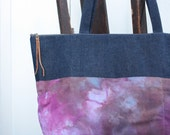 ice dyed zip top tote