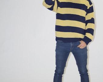 Vintage 1990s Polo Ralph Lauren Yellow Striped Sweater  - Vintage Hip Hop Sweaters - MT0612