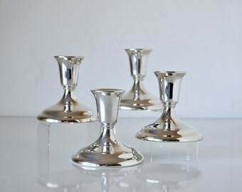 Set of 4 Silver Plate Candle Holders