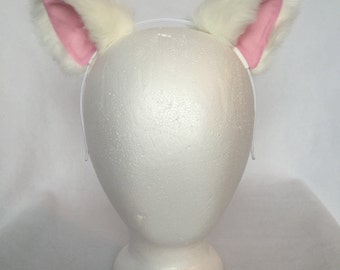 White Kitty Ears Headband, White Cat ears with pink inner color