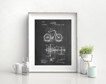 Bicycle Gearing 1894 Patent Poster, Vintage Bicycle, Hipster Wall Art, Bicycle Decor, PP0051