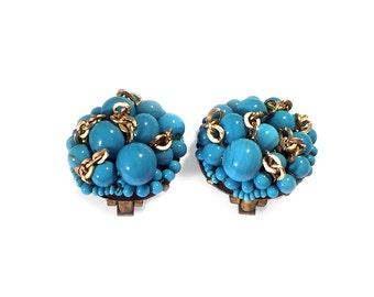 Coppola e Toppo Earrings Turquoise Glass Beads Clip