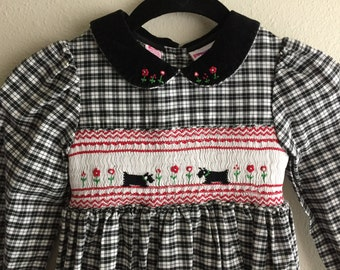 Little Girl's Vintage Gingham Dress with Peter Pan Collar