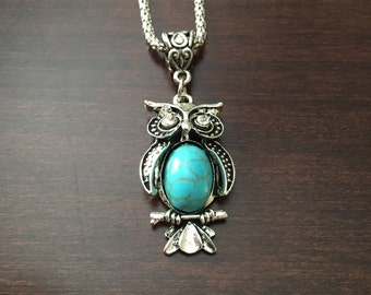 turquoise owl necklace, owl necklace, owl jewelry, owl pendant, turquoise necklace, turquoise jewelry, turquoise pendant, turquoise, owl
