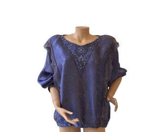 Purple 80s Vintage Beaded Sweater Size L A R G E