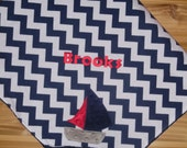 Custom Monogrammed Minky Baby Blanket with Embroidered Sailboat- Medium Navy Blue Chevron