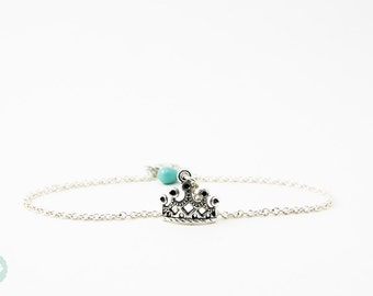 Crown bracelet, silver bracelet, friendship bracelet, cute bracelet, silver necklace, silver jewelry, cute necklace, crown necklace