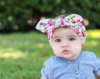 Top knot baby head wrap, baby girl headband, knot tie, pink floral head wrap, first birthday, easter outfit, infant headbands, knot headband