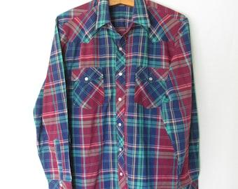 Vintage 1980's Plaid Western Snap Button Shirt