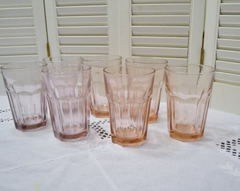 Vintage Libbey Gibraltar Tumbler Glass Set of 7 Pink Lilac Purple Water Ice Tea Glassware PanchosPorch