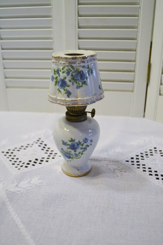 Vintage Ceramic Oil Lamp Miniature White Blue Floral Design
