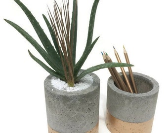 "Concrete Planters with Gold. Medium. (Set of 2) 4""&5"".   FREE SHIPPING! Ready To Ship!"