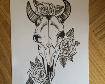 Cow Skull Black and White Art Print //Original//Artwork//Home Decor//Floral