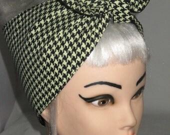 extra wide Houndstooth Black Headband Pinup Vintage Retro Style 50s Rockabilly