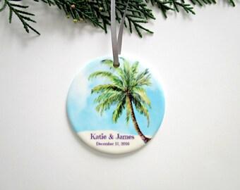 Wedding or Engagement Christmas Ornament - Personalized Ceramic Ornament - Tropical Beach Wedding Memento - Unique Bridal Shower Gift