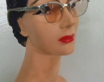 Vintage 50s silver cat eye glasses