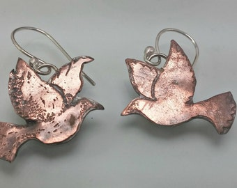 Copper Dove Earrings Etched Copper Dangle Earrings---Made to Order