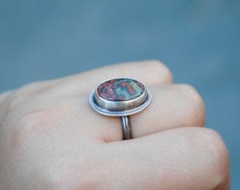 Oxidized Sterling Silver Ocean Jasper Ring - Ocean Jasper Jewelry