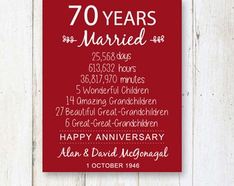 70th Anniversary Gift - 70 years Wedding Anniversary - Personalized 70th Wedding Print - Anniversary Print - DIGITAL file!