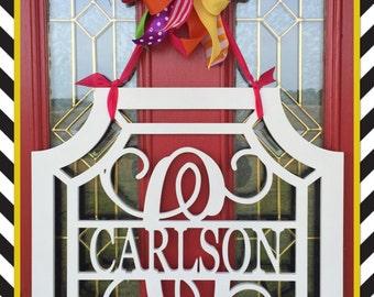"""24"""" Gemstone Bordered Initial with Name Front Door Bright Everyday Door Hanger"""