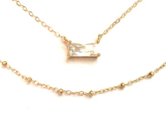 Layered Necklace, Cubic Zirconia Bar Necklace, Gold Bar Necklace, Bridesmaids Gift, CZ Bar Necklace, Cz Rectangle Necklace
