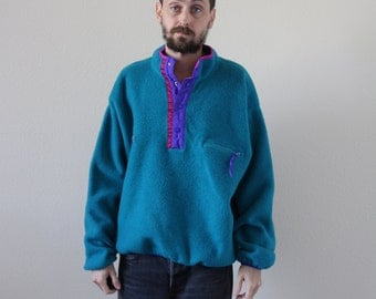 Teal Columbia Fleece Snap T Pullover Sweater Jacket Mens Large