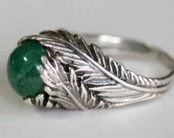 Green Aventurine Sterling Leaf Ring