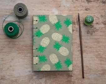 Hand Bound Pineapple Sketchbook - Coptic Stitch - Journal / Notebook - Olive Green - A6 Small - Fruit - Travel Journal / Diary