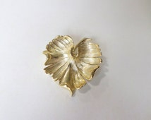 Gold Leaf Brooch Pin Curled Leaf Bright Gold Heart Shaped Leaf Lime Tree Scarf Gold Vintage Brooch Pin Jewelry